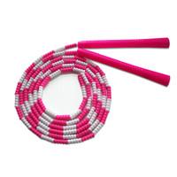 普为特POVIT 儿童竹节跳绳成人健身减肥中小学生考试专用可调节花样跳绳幼儿园训练珠节绳 P-1261(粉白)