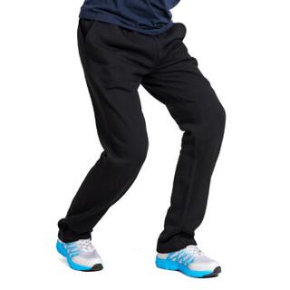 双星 纯棉运动裤男长裤 吸汗透气春季纯色直筒休闲卫裤 DML0043A 黑色 3XL