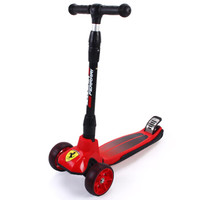法拉利儿童滑板车滑步车 3-6-8-10岁小孩 可折叠升降四轮闪光摇摆车平衡车FXK58红色 *2件