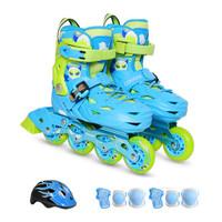 美洲狮(COUGAR )儿童套装轮滑鞋平花休闲两用溜冰鞋 MZS303天空蓝 M码