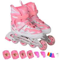 乐士(ENPEX) 溜冰鞋 儿童 成人 轮滑鞋 男女闪光轮旱冰鞋滑冰鞋  M号 粉色(送护具路障) *4件