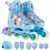 迪士尼(Disney)溜冰鞋儿童全套装轮滑鞋男女可调全闪光旱冰鞋滑冰鞋蓝冰雪(八轮全闪含护具头盔)198M码