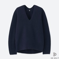 历史低价:UNIQLO 优衣库 409048 女士3D柔软羊仔毛休闲针织衫