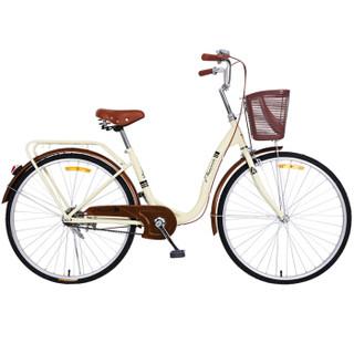 凤凰Phoenix城市车男女式通用型通勤车自行车女双鱼座 24寸 米色
