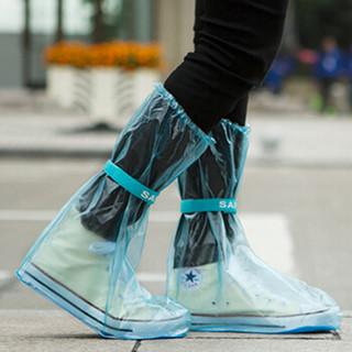 山顶洞人 雨鞋套 男女通用 防水雨天防滑鞋套 非一次性雨具 加厚耐磨防雨靴套鞋套 CM9006 蓝色 L(2件起售)