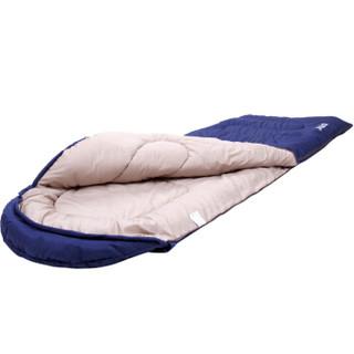 喜马拉雅户外睡袋成人室内午休 冬季加厚保暖透气纯棉信封野外旅行露营睡袋 信封带帽 蓝色