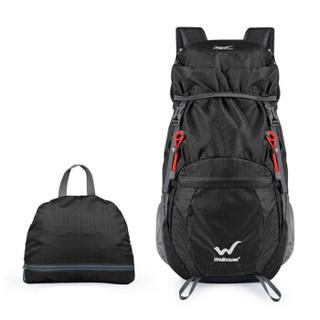 Wellhouse WELLHOUSE 户外折叠背包 双肩包男女登山包休闲徒步35L防水涤纶面料黑色
