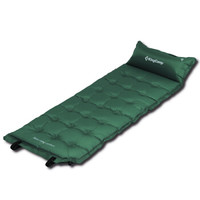 康尔 KingCamp 户外垫子睡垫自动充气垫防潮垫 露营野餐休闲防滑垫 带枕头可拼接 加宽加厚单人 KM3560墨绿