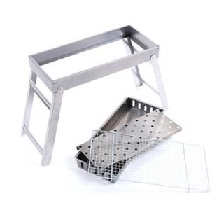 尚龙不锈钢烧烤炉子 便携折叠长条烤网烤架 BBQ木炭户外烧烤箱 长58cm