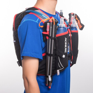 奥尼捷(AONIJIE)越野跑步背包户外徒步骑行登山双肩包水壶水袋包5L 黑配红M/L