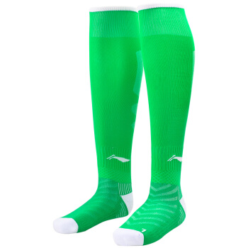 LI-NING 李宁 AWLL099-5 长筒足球袜 (中绿色、L)