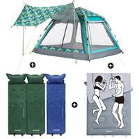 康尔 KingCamp 3-4人带天幕户外帐篷休闲套装 全自动帐篷+3个可拼接自动充气垫+双人睡袋 露营野餐 KE1004