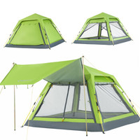 康尔 KingCamp 全自动帐篷户外休闲露营野营野餐帐篷防风防水 3-4人超大空间 带天幕送门杆 KT3099绿色