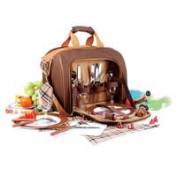尚龙户外四人份提挎野餐包含餐具及冰包保温包棕色D-24