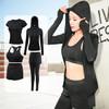范迪慕 瑜伽服套装健身服夏秋新款长裤短袖外套速干透气五件套 FDMW2018-纯黑色-外套五件套-XXL