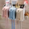 卫生间牙刷架壁挂式漱口杯吸壁式牙缸牙具置物架套装免打孔刷牙杯 19.8元