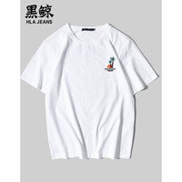 HLAJEANS 黑鲸 2019夏季男士清爽植物图案上衣短袖t恤  CNTBJ29191A (180/96A、白色)