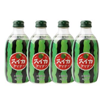 日本进口 友傑(jie)碳酸饮料西瓜味果味汽水 300ml*4瓶装