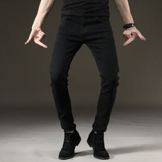 太子龙(TEDELON) 牛仔裤男  纯色弹力修身小脚舒适型酷男士牛仔长裤 T82410 黑色 31