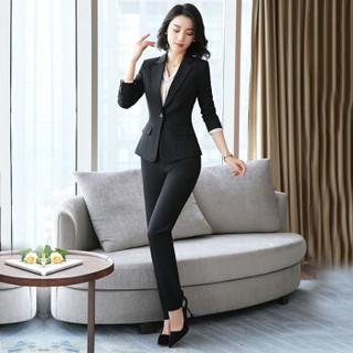 初申 职业女装套装小西装正装女2019春季新款商务通勤OL工作服SWXZ188111-1 单件黑色西服L
