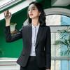 初申 职业装女春秋款小西装外套女士长袖西服面试工装职业正装SWXF183187-1黑色外套L