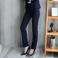 初申 职业套装女复古格子修身长袖小西装外套+短裙+裤子职业工装女士西服套装职业正装SWXF183184-3蓝色裤子L *3件