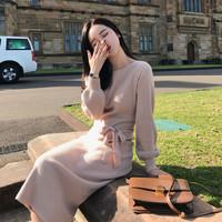 朗悦女装 长袖连衣裙女2019春季新款韩版中长款系带收腰针织裙修身打底长裙 LWQZ187301 杏色 均码