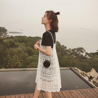 JOY OF JOY 2019年夏装新款韩版吊带蕾丝连衣裙中长款休闲两件套套装裙女 JWTZ183942 黑色 M