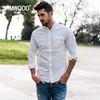 Simwood 简木 180066 男装2018春装新款纯色酵洗胸口袋修身立领长袖衬衫男 188元