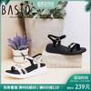 BASTO/百思图夏季专柜同款羊皮露趾坡跟休闲女凉鞋TY319BL8 259元