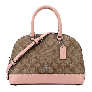 COACH 蔻驰 奢侈品 女士卡其配粉色PVC配皮手提单肩斜挎贝壳包 F27583 SVAVK
