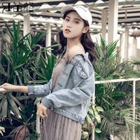 破洞牛仔外套女短款韩版春秋短外套修身流行上衣服女装2019新款潮