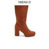 Forever21 仿麂皮纯色粗跟高跟中筒靴女 150元