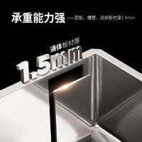 克劳思 1.5mm厚304不锈钢手工水槽单槽套装台下式洗碗池100-28