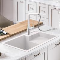 艾斐石英石水槽带沥水台厨房大单槽高硬度耐磨洗碗池洗菜盆SKD721 *3件