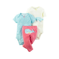 carter's  3个月-2岁 儿童三件套(2连体衣+1裤子)鲸鱼系列 *3件