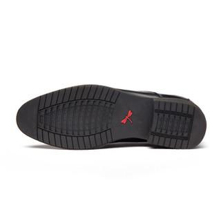 红蜻蜓 (RED DRAGONFLY) 舒适系带商务休闲男士皮鞋 WTA62851/52 黑色 41