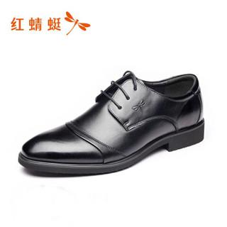 RED DRAGONFLY 红蜻蜓 舒适系带商务休闲男士皮鞋 WTA62851/52 黑色 40