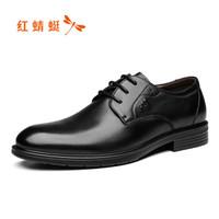 红蜻蜓 (RED DRAGONFLY)舒适商务休闲时尚系带皮鞋男 WTA73761 黑色 42+凑单品