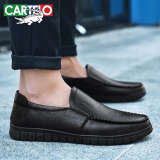卡帝乐鳄鱼 CARTELO 男士透气牛皮时尚潮流英伦一脚蹬豆豆驾车休闲皮鞋男 909 黑色 41