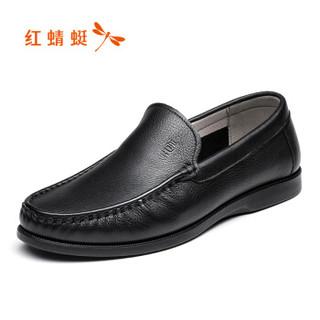 红蜻蜓 (RED DRAGONFLY )舒适大众平底休闲男鞋皮鞋 WTA81311 黑色 40