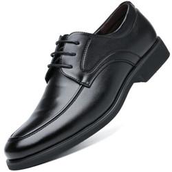 波图蕾斯(Poitulas)英伦男士商务休闲鞋正装皮鞋男系带耐磨 9829 黑色 42