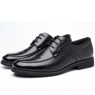 波图蕾斯(Poitulas)英伦男士商务休闲正装皮鞋男系带耐磨 9829 黑色 42