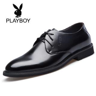花花公子(PLAYBOY)男士经典系带商务英伦圆头正装男皮鞋6CW563010D01黑色41 *3件