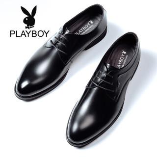 PLAYBOY 花花公子 8CW563124D0 男士系带商务正装皮鞋 黑色 41