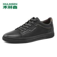 MULINSEN 木林森 SL87616 男士磨砂牛皮休闲板鞋 黑/卡其 40码