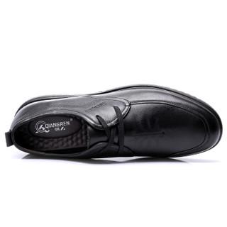 强人 男士 舒适透气鞋 头层牛皮 车缝线 休闲皮鞋 JD255004 黑色、46