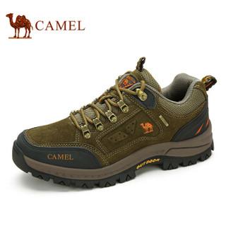 CAMEL 骆驼 男士 防滑越野徒步鞋 反毛绒牛皮 车缝线 户外鞋 A632026925 卡其、41