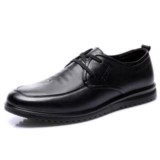 强人 男士 轻便舒适透气 头层牛皮 车缝线 休闲皮鞋 JD255004 黑色 45码