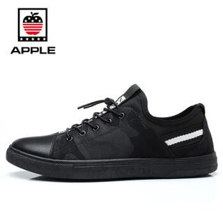 Apple 苹果 男 休闲鞋系带时尚 人造皮革 车缝线 板鞋 862 黑、41